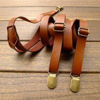 Wholesale New retro leather strap leather suspenders clip braces men general england clothing recessionista suspenders for men and women