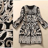Wholesale New Arrival Women s O Neck Sleeves Embroidery Floral Elegant Runway Woolen Trench Coats