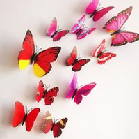 Wholesale 2015 Fashion Cute PVC d Butterfly wall sticker decor Butterflies art Decal stickers on the home wall DIY Paper Decoration