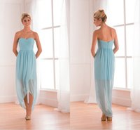 Wholesale 2015 New Style Light Blue Chiffon Detachable Bridesmaid Dress Sweetheart Sleeveless Ruffle Empire Sexy Long Formal Wedding Guest Gowns sdd