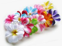 Tiaras artificial frangipani - 70 Mixed Plumeria Frangipani Heads Artificial Silk Flower inches for Wedding Work Make Hair clips headbands hats