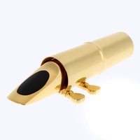 Wholesale Professional Sax Saxophone C Mouthpiece Metal with Cap Buckle Gold Plating Saxophone Accessories order lt no track