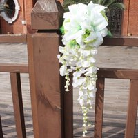 artificial waterfall - DW Romantic Drop Wedding Bouquet Waterfall Cheap Artificial Wedding Bouquets For Brides Bridesmaid Hand Holding Flower In Stock