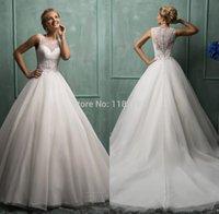 Wholesale Amelia Sposa Bridal Gowns See through Lace Applique Zipper Back Plus Size Wedding Dresses vestidos de novia casamento