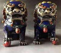 lion statue - China Old Handwork A Pair Cloisonne Copper Statue Lion Foo Dog NR