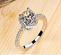 Wholesale New Arrive Show elegant temperament Jewelry Womens White Sapphire Silver Filled Wedding Ring