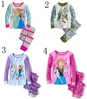 Wholesale 5sets Frozen Anna Elsa kids long sleeve home clothes cotton pajamas sets children boys girls nightgown Leisure wear for Y kids