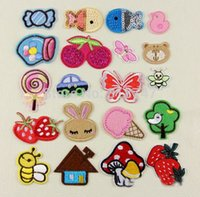 Wholesale 6pcs random cm Candy Cherry Bee Small animal Embroidered Patch