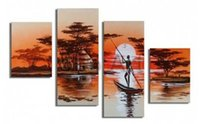 africa lakes - MODERN ABSTRACT HUGE LARGE CANVAS ART OIL PAINTING africa boat lake