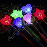 Wholesale 2016 New cm Portable Electronic Glowing Sticks LED Heart Style Flashing Shaking Rods LED Flash Light Children s Festival Favors Y