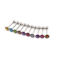 Wholesale Hot Selling pc set Crystal Barbell Bar Nipple Tounge Stainless Steel Tongue Ring Body Piercing Fashion Jewelry Promotion