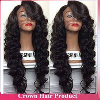 human hair lace wigs - 2014 Hot sale human hair full lace wig with side bangs body wave Hairstly glueless Lace Front Wig Human Hair wig for black women