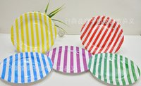 Wholesale 7 quot Disposable paper tray stripe design colors paper disc cake plate birthday party supplies paper tray party favors