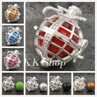 Cheap Mexican bola ball locket pendant Charms Pregnancy Bola Pendant 26 Color Chime Angel Balls For Choosing Baby Caller Silver Locket PendantH094