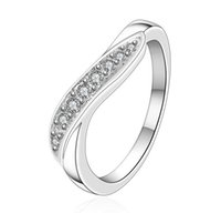 Wholesale Plating Sterling Silver Luxury Lady Rings With many Austrian Crystals Wedding Rings Jewelry
