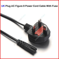 Wholesale UK Plug AC Figure Power Cord Cable m FT With Fuse For Battery Charger AC Power Adapter Laptop