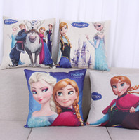Wholesale Cartoon Frozen Sofa Cushion Covers Linen Cotton Pillows Case Decorate Princess Pillows covers cm Car Office Wedding Decoration
