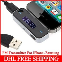 Wholesale 300pcs mm Car radio FM Transmitter For iPod iPad iPhone S Galaxy S4 S5 HTC Computer mm Audio Output Connector