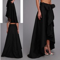 Wholesale Vintage Pleated Black Sweep Train Skirts Tiered Bow Formal Party Dresses Women High Low