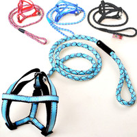 basic decorations - 2016 Pets Dog Round Leashes With Black Line Decoration Puppy Dog Harness Lead Leash Set Candy Twill Collars Crude Rope