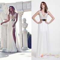 Wholesale 2017 Prom Dresses Cheap In Stock Bridesmaid Dresses With Beads A Line Charming V Neck Sleeveless Zip Back Long White Formal Evening Gowns