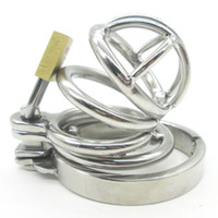 Male Catheters & Sounds 100%real stainless steel Super Small Male Chastity Device Stainless Steel Adult Cock Cage Lock BDSM Sex Toys Bondage Belt Short Ring