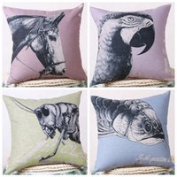 horse decor - decorative pillows case horse cushion cover parrot funda cojin fish animal home decor pillowcase country almofadas