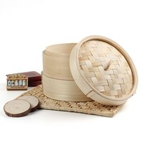 bamboo rice cooker - 2 Tier Bamboo Steamer Chinese Dim Sum Basket Rice Pasta Cooker Set with Lid Kitchen Cookware Fish Dim Sum Rice Price