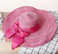 Wholesale Women s Flax Bowknot Band Floppy Hat Wide Brim Crushable Series Caps Fashion Lady Summer Beach Trilby Caps