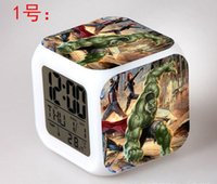 Wholesale 11 styles Avengers alliance alarm clock LED Colors Change Digital Frozen Alarm Clock Thermometer Night Colorful Glowing Clock WITH BOX C