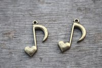 Charms antique notes - 25pcs Music Charms Antique bronze musical note with Adorable Heart charm pendant Hearts charm x16mm