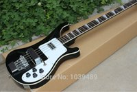 Wholesale strings bass black electric bass guitar silver hardware China Guitar HOT SALE