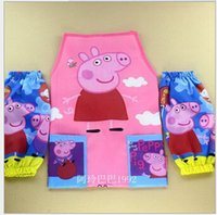 kids aprons - Peppapig Waterproof Apron Oversleeve Kit Peppapig Pattern Aprons for kids Cooking Painting wear Christmas Gift