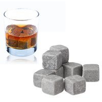 Wholesale 9pcs pack Bottle Whisky Ice Stones Drinks Cooler Cubes Beer Rocks Granite vinho Pouch Wine Accessories Chopeira