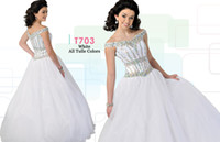Wholesale 2015 White Ritzee Originals Girls Pageant Dresses Colorful Crystal Flower Girl Dress A Line Gown Tulle Size For Teens T703