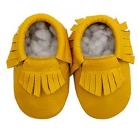 Wholesale 1 Pair Send Sizes Christmas Leather Baby Moccasins Tassels Shoe Girls Boys Chaussure First Walker Toddler Moccs M Dropship