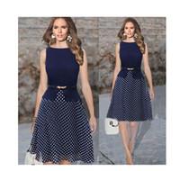 Wholesale 2016 new Europe sleeveless crew neck Polka Dot Dress with a belt S XXL size