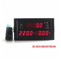 Digital Only AC Electrical Red AC 80-300V 100A AC Digital Voltmeter Ammeter Panel Multi-function 0.31 Inch LED Ampere Voltage Power Meter Monitor