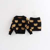 baby fashion clothes - 2015 New Autumn baby girls fashion bear pattern jacquard long sleeve sweater short skirt suit children clothing C001