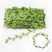 artificial flowers retail - Retail Beautiful Artificial Green Flower Leaves Plant Rattan DIY Garland Accessory For Holiday Decoration Hairbands Headband