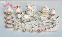 Wholesale Porcelain Rose Tea Dinner Set Of Dining DIsh Plate Scale Dollhouse Miniature Furniture