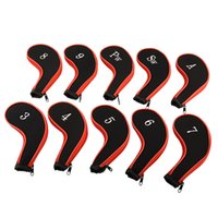 Wholesale 10Pcs Sleeve Neoprene Golf Club Iron Putter Headcovers Head Cover Protect Case Pocket Red