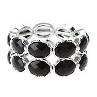 Wholesale Pulseira New Summer Fashion Lady Black Stone Crystal Elastic Bracelets Bangles Chunky Statement Jewelry For Women Fine jewelry J0214