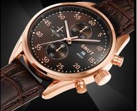 2,015 pour les hommes d'affaires décontractée cuir imperméable Montres de Luxe navire Sport Mens Montre bracelet Noir Bleu Brun 1pc gratuit