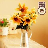 Wholesale Three Van Gogh Sunflowers decorative flower bouquet Kit DIY handmade wool felt poke fun DIY material package