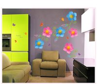 Wholesale 47 quot quot x60cm AY7208 Vinyl Butterfly Flowers Wall Stickers for Kids Rooms Home Decoration DIY Adesivo De Parede