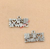 antique sewing accessories - I Love Sewing Charm Zinc Alloy Pendant Antique Silver Plated Jewelry DIY Making Accessories Handmade x21mm
