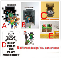 Wholesale 1PCS D Minecraft Wall Stickers Creeper Decorative Pig Steve Dig Sword Wall Decal Wallpaper Kids Party Decoration Wall Art Minecraft Toys