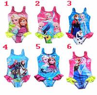 baby swimwear - 6color Kids Princess Anna Elsa One Piece Swimsuit Cute Baby Kids Tutu Swimwear Girls Cartoon Bikini Children Beach Bodysuit Swimming Clothin