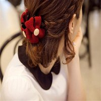 bear claw buckle - Japan and South Korea jewelry sweet red hair claws bow ponytail braided ponytail buckle button hair accessories